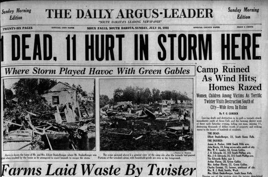 The front page of the July 10, 1932 Argus Leader tells the story of a tornado that hit south Sioux Falls the day before.