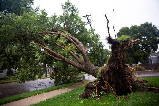 A tree is uprooted after a devastating tornado hit Sioux Falls, Wednesday, Sept. 11, 2019.