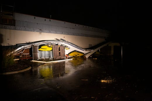 The Best Buy sign is down due to a storm that went through Sioux Falls Tuesday, Sept. 10, 2019.