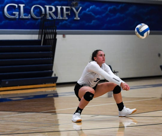 SFC outside hitter Abby Glanzer (3) bumps the ball during the match against Madison at Sioux Falls Christian on Tuesday, Sept. 10, 2019.