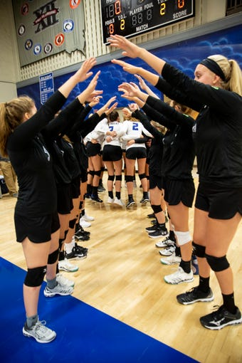 Sioux Falls Christian volleyball team gears up for the match against Madison at Sioux Falls Christian on Tuesday, Sept. 10, 2019.