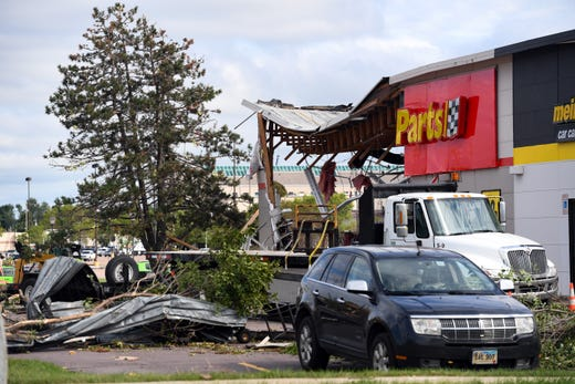 The aftermath of tornado damage to Advance Auto Parts on 41st Street on Wednesday, September 11, in Sioux Falls.