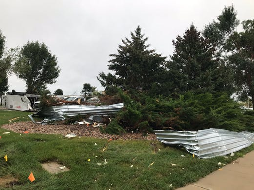 Damage at Medical Ct and 69th St. caused by an overnight storm in Sioux Falls.