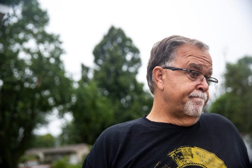Kent Alberty visits his son and daughter-in-laws homes that was devastated by a tornado that hit Sioux Falls on Tuesday, Sept. 10, 2019. Alberty's daughter-in-law is undergoing surgery for injuries sustained in the tornado.