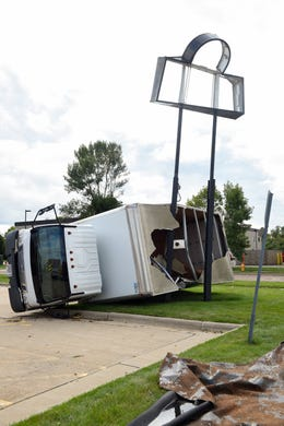 A furniture delivery truck was thrown into a sign pole on 41st Street on Wednesday, September 11, in Sioux Falls.
