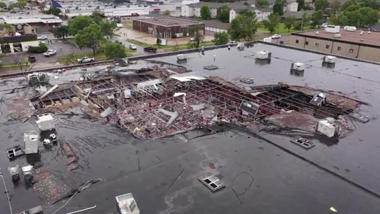 Frame grabs from drone video by the city of Sioux Falls shows damage done to an stores at Plaza 41 on W. 41st Street on Wednesday; September 11; 2019.