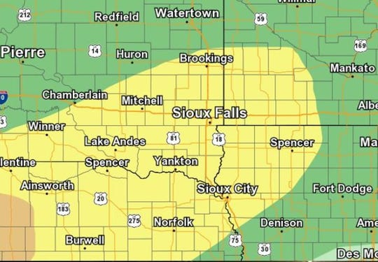 A large portion of southeast and south-central South Dakota has a slight risk of severe weather on Wednesday, Sept. 11, 2019.
