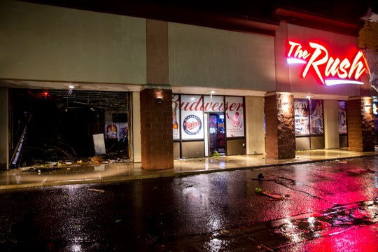 Tornado damage at The Rush on 41st Street in Sioux Falls, SD., on Tuesday, Sept. 10, 2019.
