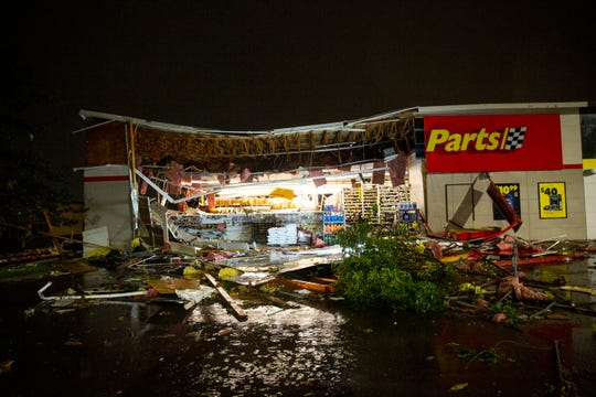 Tornado damage at Advance Auto Parts on 41st Street in Sioux Falls, SD., on Tuesday, Sept. 10, 2019.