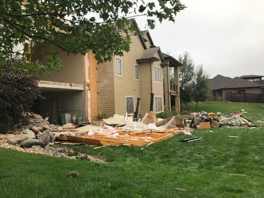 A house in the 7300 block of Burleigh Circle lost the back of its garage Tuesday night, Sept. 10, 2010, after a tornado tore through southern Sioux Falls.
