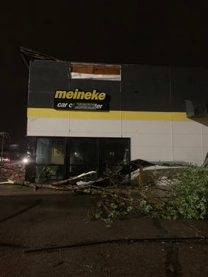 Storm damage at Meineke on 41st Street in Sioux Falls.