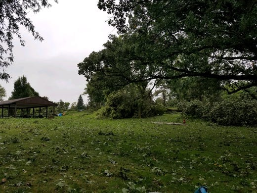 Tuthill Park damaged in overnight storm in Sioux Falls.