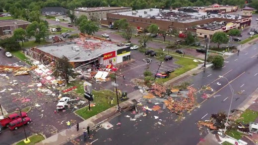 Frame grabs from drone video by the city of Sioux Falls shows damage done to an Advance Auto Parts store on W. 41st Street on Wednesday; September 11; 2019.