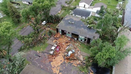 Frame grabs from drone video by the city of Sioux Falls shows damage done to a neighborhood on Wednesday; September 11; 2019.