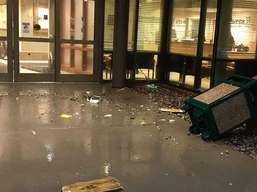 Storm damage in southern Sioux Falls at Avera Behavioral Health on Tuesday night.