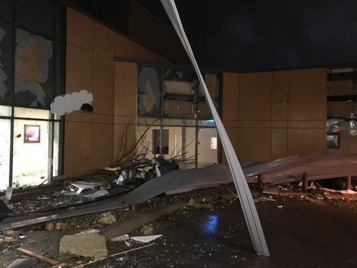 Damage from a tornado through Sioux Falls at the Avera Heart Hospital.
