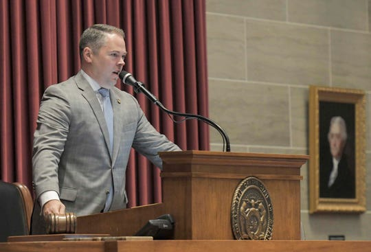 Missouri House Speaker Elijah Haahr speaks during a special session on Wednesday, Sep. 11, 2019, in Jefferson City, Mo.
