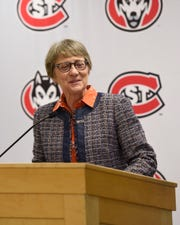 St. Cloud State President Robbyn Wacker introduces CentraCare CEO Kenneth Holmen Wednesday, Sept. 11, 2019, at Eastman Hall.