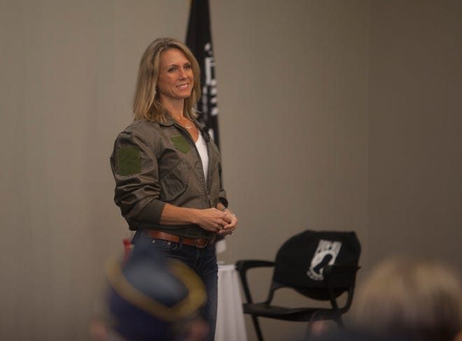 "Heather ""Lucky"" Penney speaks to veterans about her experiences on Sept. 11, and how she was ready to make the ultimate sacrifice Wednesday, Sept. 11, 2019."