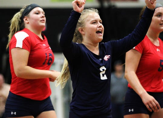 Wakulla sophomore libero Clara Alford celebrates a point as Wakulla swept Lincoln 3-0 on Tuesday, Sept. 10, 2019.