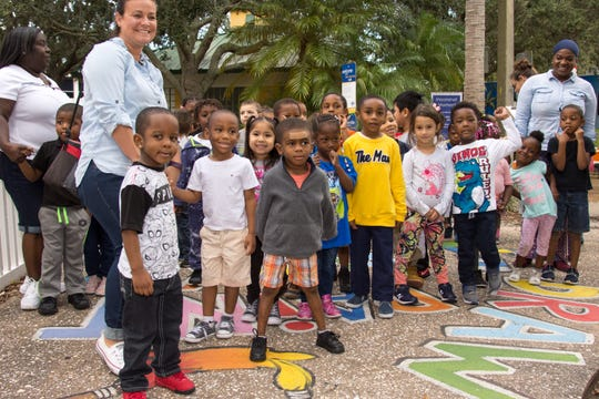 Young students await the grand opening of United Way of Indian River County's Born Learning Trail at Pocahontas Park in December 2018.