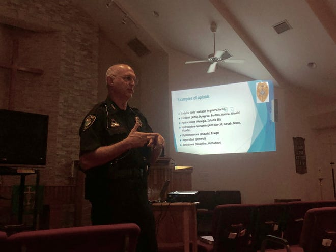 Fellsmere Police Chief Keith Touchberry led a presentation on the rise of opioid overdoses in Indian River County Tuesday, September 10, 2019.