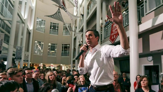 In this March 19, 2019, file photo, Democratic presidential candidate Beto O'Rourke gestures during a campaign stop at Keene State College in Keene, New Hampshire. After a mass shooting in his hometown of El Paso, the Democrat has again remade his White House bid.