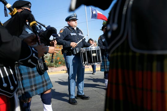 Erik Morales performs with El Paso Firefighters Pipes and Drums during the The El Paso Fire Department ceremony to remember those who lost their lives Sept. 11, 2001 at El Paso Fire Department Station 18 Wednesday, Sept. 11, in El Paso.
