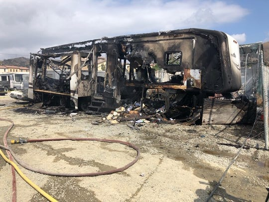 A vehicle fire destroyed a recreational vehicle in Ventura on Tuesday afternoon.