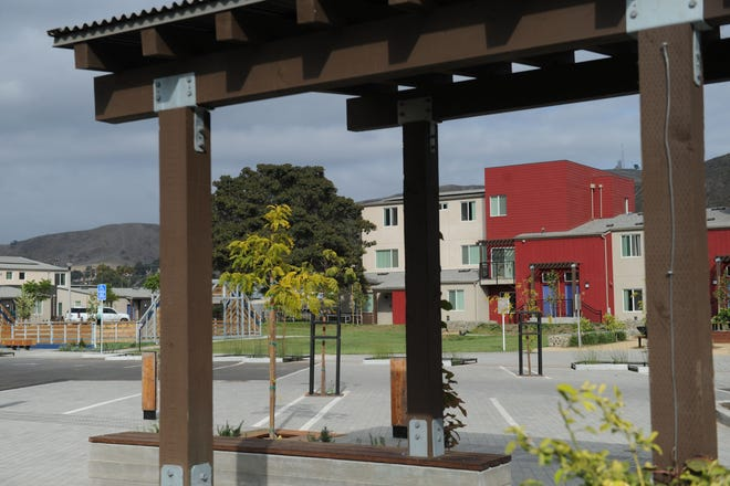 This is an outside patio and playing area at the newly rebuilt Westview Village public housing complex in Ventura.