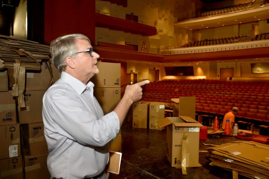 Michael Tachco, technical director for the Bank of America Performing Arts Center in Thousand Oaks, walks through the renovations at the theater on last month.