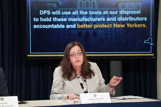 Linda Lacewell, the superintendent of the state Department of Financial Services, spoke Tuesday, Sept. 10, 2019, about the state's plans to investigate and sue drug companies over the opioid epidemic during a news conference with Gov. Andrew Cuomo in Manhattan.