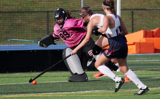 From left, Mamaroneck goalie Samantha Maresca follows a Horace Greeley drive during field hockey action at Horace Greeley High School in Chappaqua Sept. 10, 2019.  The game ended in a 1-1 tie.