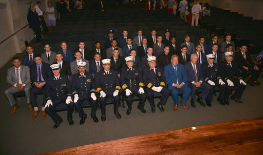 Yonkers Mayor Mike Spano swore in 31 new firefighters at the city's Riverfront Library on Sept. 6, 2019.