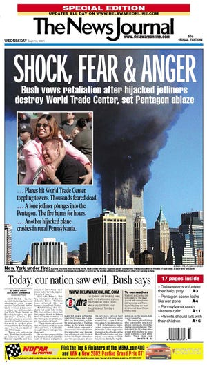 The News Journal's front page on Sept. 12, 2011.