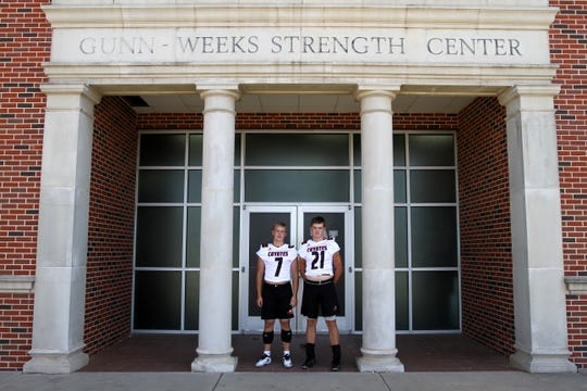Wichita Falls High's Jack Murdock, left, and his brother Ryan both play defense for the Coyotes.