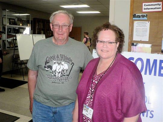 Bob Black, show Director and Jill Alf Executive Secretary of Wisconsin Sheep Breeders Cooperative manage the Festival.
