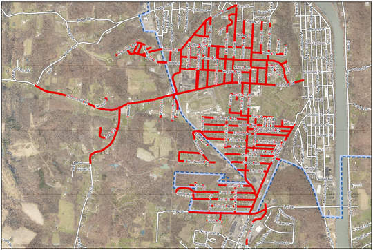 The area affected by the boil advisory.