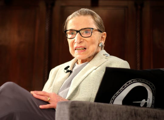"""FILE - In this Dec. 15, 2018 file photo, Supreme Court Justice Ruth Bader Ginsburg appears at an event organized by the Museum of the City of New York with WNET-TV held at the New York Academy of Medicine in New York. Filmmakers from the Oscar nominated """"RBG"""" film have been collecting signatures and get-well notes from Hollywood A-listers to Supreme Court Justice Ruth Bader Ginsburg, who is recovering from lung cancer surgery. (AP Photo/Rebecca Gibian, File) ORG XMIT: NYET404"""