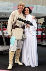 """Matt Lauer and Meredith Vieira pose as Luke Skywalker and Princess Leia from """"Star Wars"""" during the """"Today"""" Halloween show Oct. 30, 2009."""