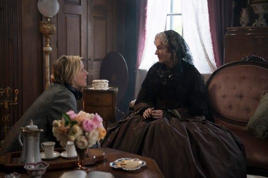 "Director Greta Gerwig (left) and Meryl Streep on the set of ""Little Women."""