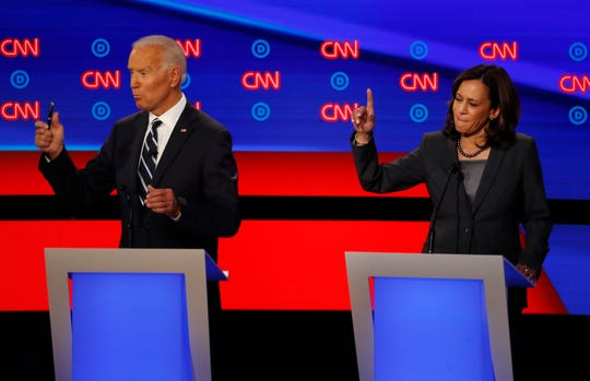 Former Vice President Joe Biden and California Sen. Kamala Harris debate in Detroit on July 31, 2019.