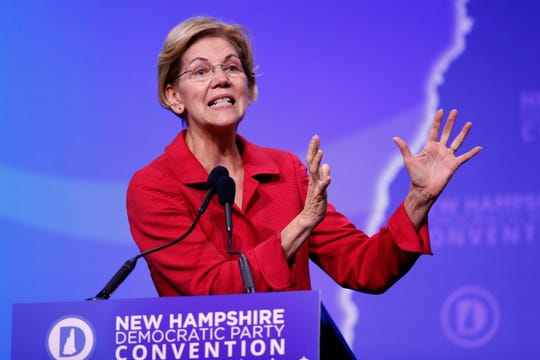 Democratic presidential candidate Sen. Elizabeth Warren, D-Mass., speaks during the New Hampshire state Democratic Party convention, Saturday, Sept. 7, 2019, in Manchester, NH.