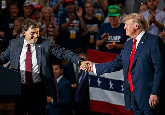 Ohio Rep. Troy Balderson with President Donald Trump on Aug. 4, 2018.
