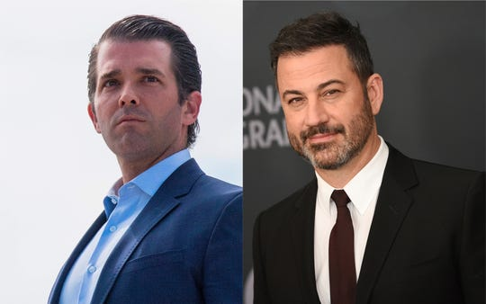 """Jimmy Kimmel (R) trolled Donald Trump Jr.'s (L) photo of a new line of camouflage Trump-branded merchandise with a """"G.I. Schmo"""" action figure."""