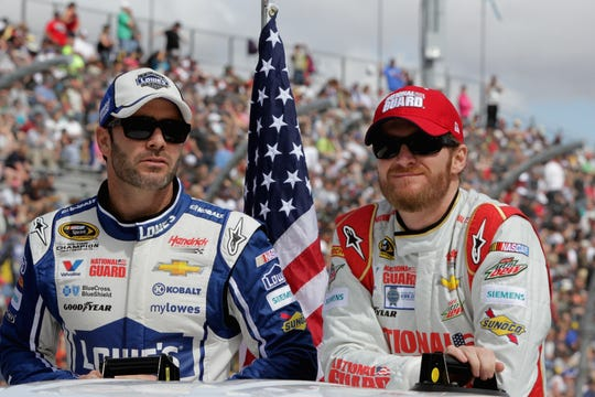 Jimmie Johnson, left, and Dale Earnhardt Jr., shown here in 2014, were longtime teammates at Hendrick Motorsports.