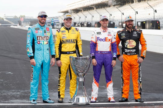 All four Joe Gibbs Racing drivers -- (from left to right) Kyle Busch, Erik Jones, Denny Hamlin and Martin Truex Jr. -- qualified for the 2019 playoffs.