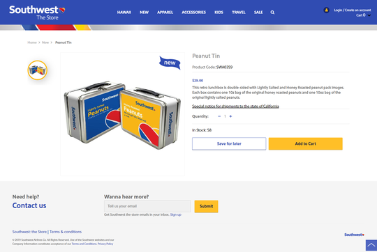 Southwest Airlines just started selling lunch boxes stuffed with its trademark peanuts. The airline stopped serving peanuts on board in August 2018 due to passenger allergy concerns.