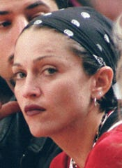 Madonna in the stands at the Spurs vs. Clippers game in 1994.