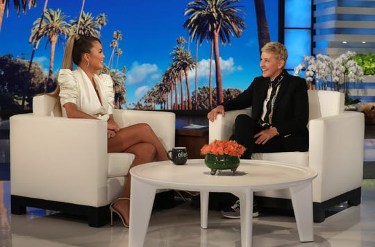 "Chrissy Teigen appears as a guest on ""The Ellen DeGeneres Show"" Wednesday."